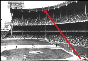 The path of Mickey's tremendous home run blast of Kansas City's Mo Burtschy on May 5, 1956. It's the first of Mickey's fa�ade shots at Yankee Stadium.