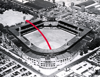 Photo showing the path of Mickey Mantle's 550-foot home run hit on June 5, 1955 at Comiskey Park in Chicago. Mickey, batting right-handed against White Sox' pitcher Billy Pierce, hit the ball over the park�s 160-foot high left-field roof, directly above the field�s 360-foot mark. The ball eventually landed on a car parked on the other side of 34th Street, smashing the car�s windshield.