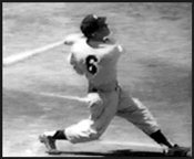 Rare photo of Mickey Mantle hitting a right-handed home run wearing his original number - 6 - his rookie year, 1951.