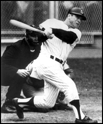 Mickey Mantle crushes the first pitch from Cardinals' pitcher Barney Schultz to win Game 3 of the 1964 World Series. The Mick called his shot in the on-deck circle, predicting a home run to Elston Howard.