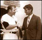Mickey Mantle greets Robert F. Kennedy on Mickey Mantle Fan Appreciation Day at Yankee Stadium in New York.