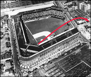 Diagram of Mickey Mantle tremendous 2-run home run at Ebbets Field against the Brooklyn Dodgers on Oct. 3, 1956
