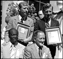 Mickey is inducted into the National Baseball Hall of Fame with teammate and friend Whitey Ford, along with Cool Papa Bell and umpire Jocko Conlan.