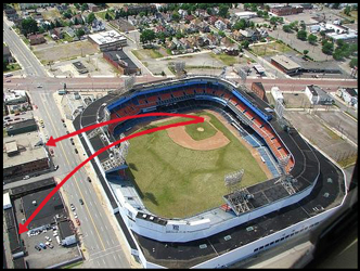 Diagram of two of Mickey Mantle's tape-measure homers in Detroit: the upper arrow shows his blast on 9-17-58 that hit the second story of a building across the street, the lower arrow shows his 643-foot home run hit into the Brooks Lumber Yard across Trumbull Avenue.