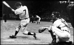 Mickey Mantle crushesa mammoth home run off Jim Bunning on September 17, 1958 at Tiger Stadium in Detroit. It went over the rightfield roof and struck the second story of a building on the opposite side of Trumbull Ave.