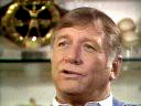 Close-up of Mickey Mantle sitting in his trophy room in Dallas telling stories for his award-winning program, Mickey Mantle: The American Dream Comes To Life