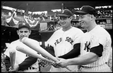 Mickey Mantle with teammate Yogi Berra and Red Sox legend Ted Williams at the All-Star Game at Griffith Stadium in Washington on July 10, 1956.