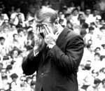 Mickey Mantle is overcome with emotion on Mickey Mantle Day at Yankee Stadium in 1969 before 70,000 fans