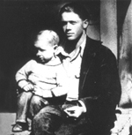 "Rare photo of Mickey Mantle as a baby with his father, Elvin ""Mutt"" Mantle."