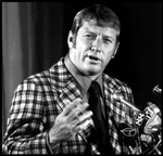 Mickey Mantle announces his retirement from baseball on March 1, 1969 at a press conference held at Yankee Stadium in New York.